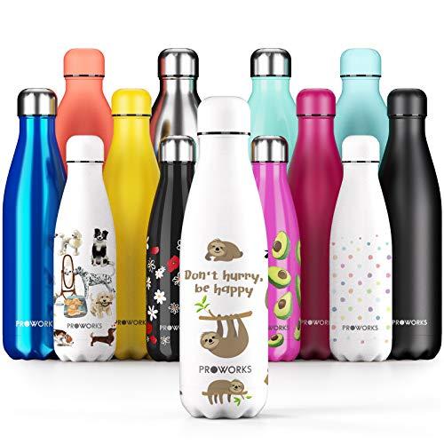 Proworks Edelstahl Trinkflasche | 24 Std. Kalt und 12 Std. Heiß - Vakuum Wasserflasche - Isolierflasche für Sport, Laufen, Fahrrad, Yoga, Wandern und Camping - 1 Liter - Weiß - Faultier