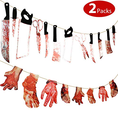 20 Pieces Scary Halloween Decorations 12 Pieces Bloody Weapon Garland Props, 8 Pieces Bloody Hands and Feet Hanging Banner for Vampire Zombie Theme Party, Bar Decorations