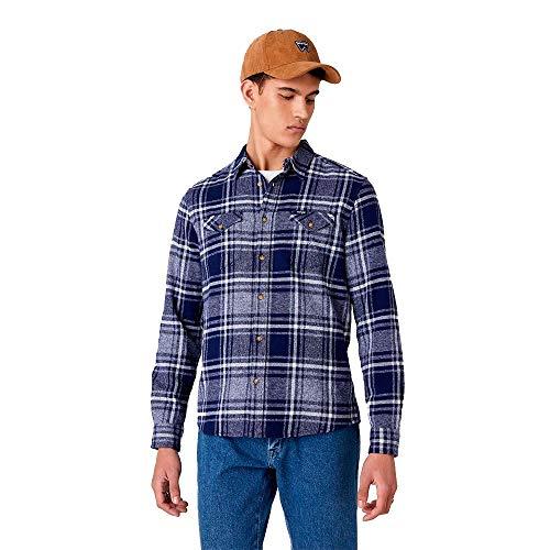 Wrangler LS 2pkt Flap Shirt Camicia, Patriot Blue, XL Uomo