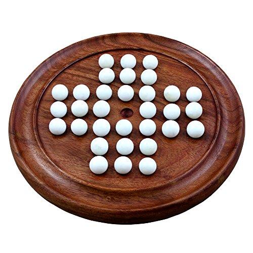 RoyaltyRoute in legno solitario massello gioco da tavolo con marmi giochi di viaggio 8,75 pollici