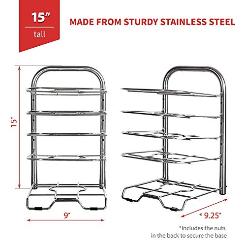 """Height Adjustable Heavy-Duty Cast Iron Pan and Pot Organizer Rack: Stainless Steel, 5-Tier Durable Steel Rack for Kitchen Countertop & Cabinet Storage and Organization (15"""" Tall)"""