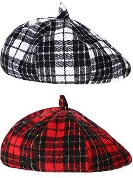 SATINIOR 2 Pieces Beret Hats Angora French Beret Caps Plaid Berets Winter Furry Hats  Plaid Style  Color Set 1 One Size