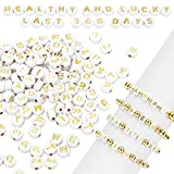 Yinkin 1000 Pieces Round Acrylic Letter Number Beads Charms Gold Letter Beads White Alphabet Beads 4 x 7 mm Alphabet Figure Beads for Craft DIY Necklace Bracelet Keychain Jewelry Making