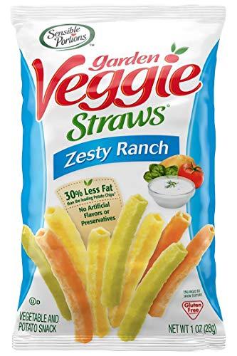 Sensible Portions Garden Veggie Straws, Ranch, Snack Size, 1 Oz (Pack of 24)