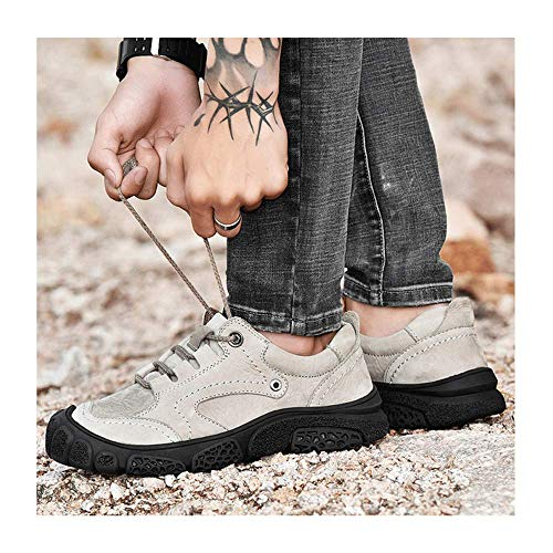 FACAI Breathable Soft Rubber Men Hiking Sneakers Men Outdoor Mountain Trekking Boots Flat Pedals Leather Tactical Shoes,White-42
