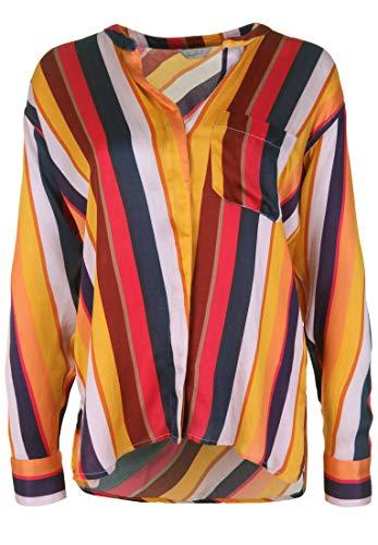 FROGBOX Damen Bluse mit Streifenmuster mit Brusttasche