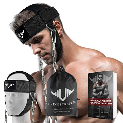 Vikingstrength Neck Harness Strength Trainer- Premium Quality for Neck Curls and Training. Head Exerciser for Sports and Fitness
