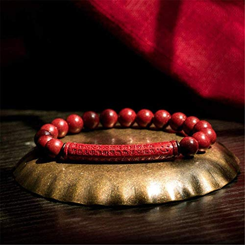 Gymqian Feng Shui Amuleto Pulsera Prosperidad Natural Cinnabar Redsand Púrpura Arenas Doradas Corazón Sutra Atrae Lucky Wealty Love Transfer Bangle para Mujeres/Hombres, Rojo, 8Mm