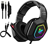 KJDFN QWEE Gaming Headset -RGB Gaming-Kopfhörer PC USB 3.5mm PS4 / Xbox/PC Headsets Mit 50...