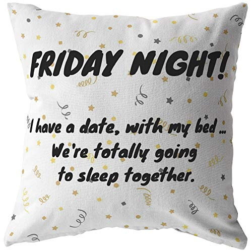 Friday Night Pillow, Netflix and Chill Pillow, Funny Home Decor, Single Person Gift, Gift for Best Friend (Zip Cover, 20 x 20)