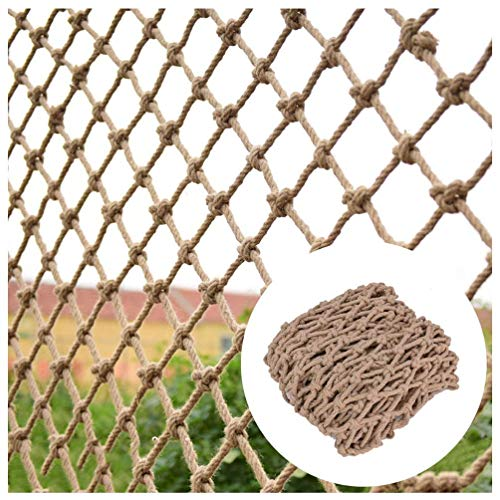 Geyao Hemp Rope Net Protective camouflage Trellis Netting for Climbing Plants,Bar Decor And Accessories for Walls/Patio,Natural Jute Material,12mm/10cm,Multiple Sizes Occlude (Size : 2x4m)