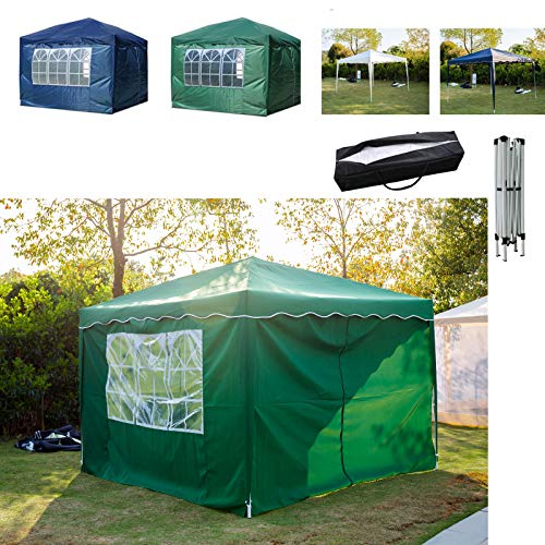FlyingBanana001 3x3m Pop Up Gazebo Marquee Tent with 4 Side Panles Sidewalls For Outdoor Wedding Garden Party, Fully Waterproof, PVC Coated, With Carry Bag, Green