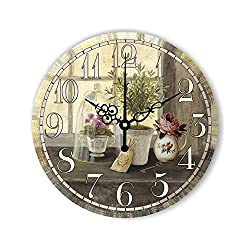 Dissee Store Vintage Large Decorative Wall Clock Home Decor Mute Wall Clock Creative Wall Decor Living Room Watch,Style 18,16 Inch