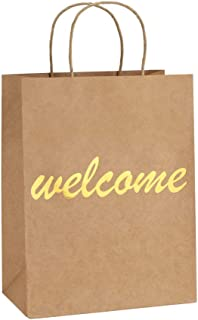 BagDream Brown Kraft Paper Welcome Gift Bags Bulk with Handles 25Pcs 8x4.25x10.5 Inches Shopping Gifts Wedding Bags, Good for Packaging, Retail, Party, Craft, Recycled, Goody and Merchandise Bags