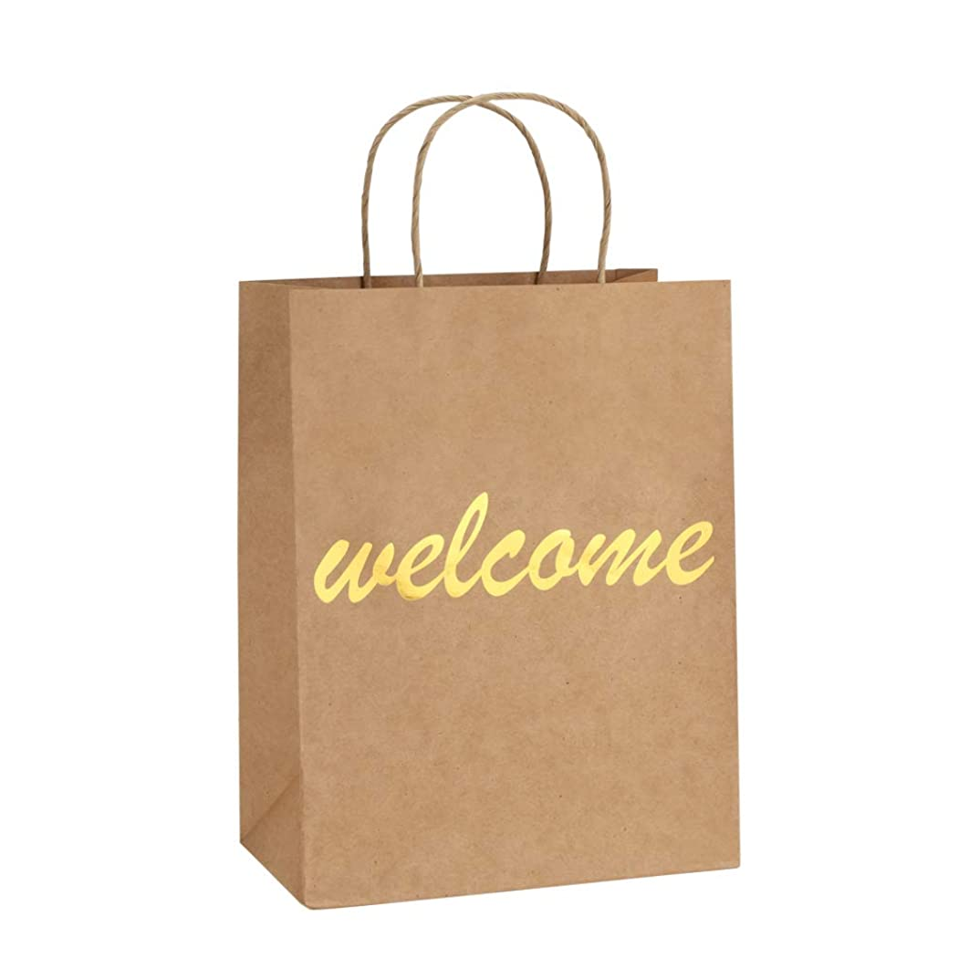 BagDream Brown Kraft Paper Welcome Gift Bags Bulk with Handles 25Pc, 8x4.25x10.5