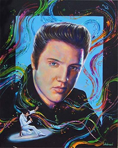 AItmp Elvis Presley (Elvis Presley) 5D Diamantmalerei-Kit, 3D DIY runde Diamantstickerei Kreuzstich, Mosaik Home Decoration Crafts 40X50cm