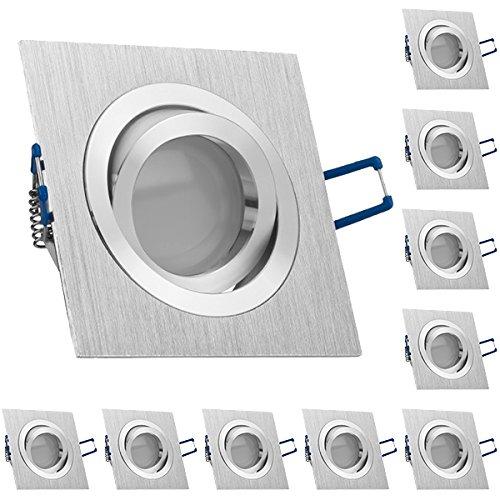 10er LED Einbaustrahler Set Bicolor (chrom / gebürstet) mit LED GU10 Markenstrahler von LEDANDO - 5W - warmweiss - 120° Abstrahlwinkel - schwenkbar - 35W Ersatz - A+ - LED Spot 5 Watt - Einbauleuchte LED eckig