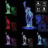 MASUNN 3D Nueva York Ciudad Estatua De Libertad Toque Remoto 7 Color Cambiante Led Mesa Noche Lámpara Luz Regalo