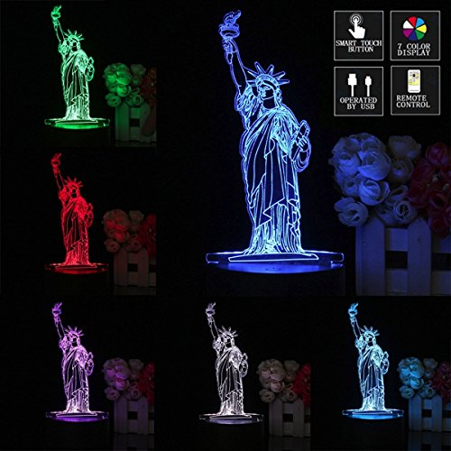 MASUNN 3D Decor Night Light Touch Remote 7 Color Changing LED Table Night Lamp Light Gift (Statue of Liberty)
