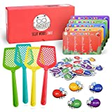 Gamenote Sight Words Swat Game - 520 Dolch Fry Site Words with 4 Fly Swatters from Pre K to 3rd Grade Educational Learning Games for Kindergarten Classroom