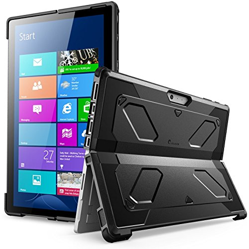 The New Surface Pro 2017 Case, Heavy Duty i-Blason Armorbox Dual Layer Hybrid Full-Body Protective Kickstand Case Compatible with Microsoft Surface Pro 4 2015 NO Built in Screen Protector (Black)
