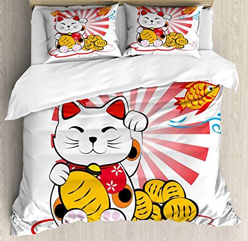 Juego de Funda nórdica de Gato japonés, Kitten Lover Maneki Neko Fishbones Lucky Cat sobre Fondo Liso, Juego de Cama Decorativo de 3 Piezas con 2 Fundas de Almohada, Mostaza Negro Multicolor