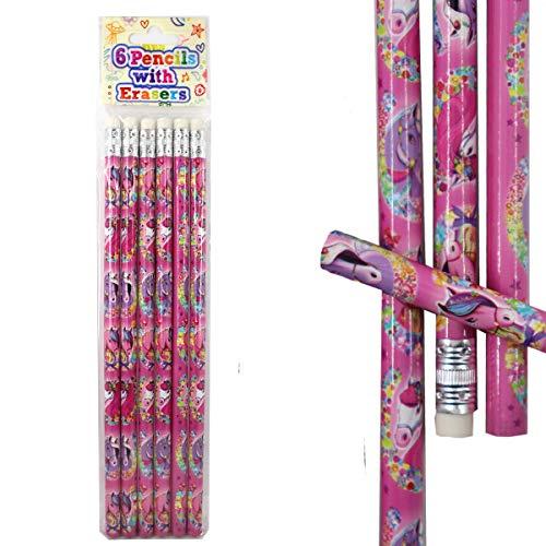 Henbrandt Bleistifte Pferde Radiergummi 6er Set Mädchen Schule Federmappe Lustig Pink Mitgebsel 19cm