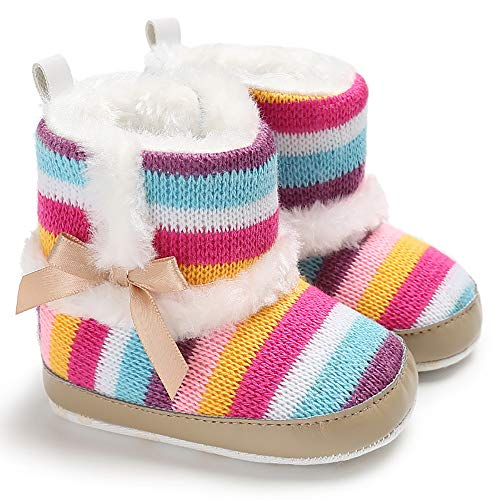 LIVEBOX Baby Girls' Premium Soft Sole Bow Anti-Slip Mid Calf Warm Winter Infant Prewalker Toddler Snow Boots (S: 0~6 Months, Khaki 1)