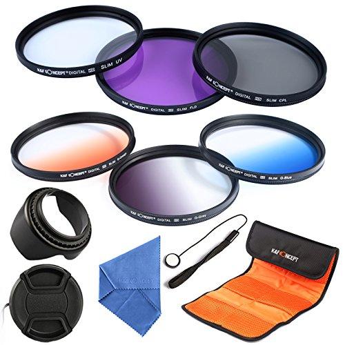 K&F Concept Objektiv Filter Set 62mm UV Filter CPL Filter FLD Filter Verlaufsfilter Set Orange Blau Grau mit Gegenlichtblende 62mm objektivkappe Objektivkappenhalter Reinigungstuch und Filtertasche