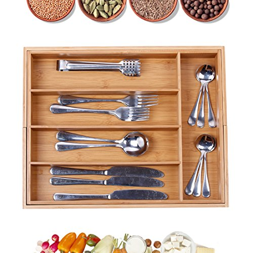 Cutlery Tray with 7 Compartments Flatware Organizer Used for Drawer Organizer Divider Bamboo Holder for Utensils Flatware,Silverware(1617.72.56 inch Large)