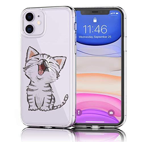 Verco Handyhülle für iPhone 11 Hülle, Premium Muster Handy Cover für Apple iPhone 11 Hülle weiches Flexibles TPU Hülle (6,1 Zoll), Katze Motiv