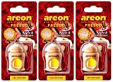 Areon Fresco Deodorante Auto Mela Cannella Profumo Dolce Legno Bottiglie Da Appendere Specchietto Liquido Pendente Vetro Boccetta Originali Rosso Legami 4ml 3D Casa ( Apple and Cinnamon Set x 3 )