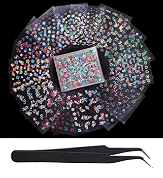 WOKOTO 50Pcs Self-adhesive 3D Nail Stickers Flower Nail Decals For Women Girls Kids Floral Sticker Sheets With Tweezers