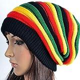 F-blue Automne Hiver Unisexe Colorful Stripes Cap Jamaïque Chaud Laine Douce Bonnet en...