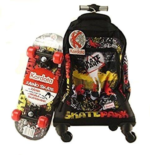 Zaino Trolley con 4 ruote Deluxe Kordata 86037 Auguri Preziosi 55x24x38 + Skate