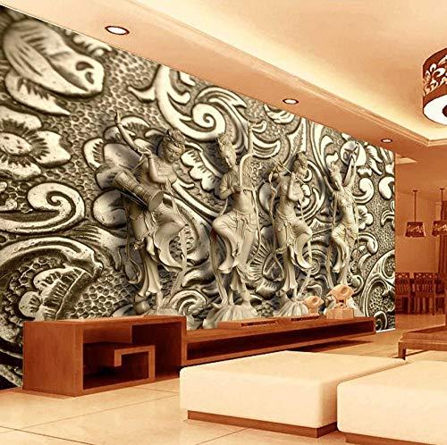Fotobehang op maat 3D niet-geweven stof milieuvriendelijk en duurzaam behang muursticker-bronzen reliëf Chinese danser 200(w)x140(H)cm