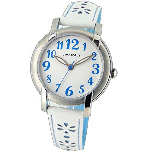 Time Force Tf4123b03 Reloj Analogico para Mujer Caja De Acero Inoxidable Esfera Color Blanco
