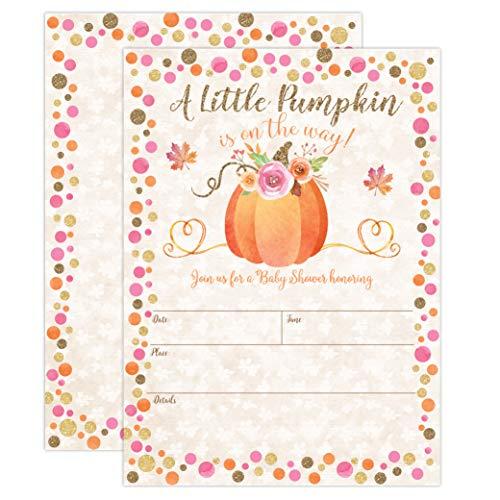 Pumpkin Fall Baby Shower Invitations, Pumpkin Baby Shower Invitation,...
