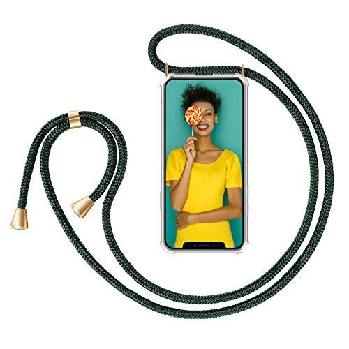 ZhinkArts Collana Porta Cellulare Compatibile con Apple iPhone 11 - Display 6,1' - Custodia da Collo per Smartphone, Nastro - Cover con Cordoncino da Indossare - Verde