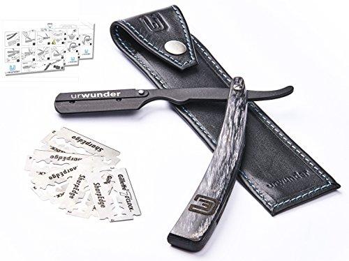 Präzises Premium-Rasiermesser + Hochwertiges Echtleder-Etui + Einfache Anleitungen + Scharfe Ersatzklingen | urwunder Beardo | Ideal zum Rasieren (schwarz matt/anthrazit)