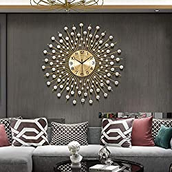 TT 29.5 Large Golden Modern Decorative Wall Clocks for Living Room Decor Luxurious Metal Clock Dial