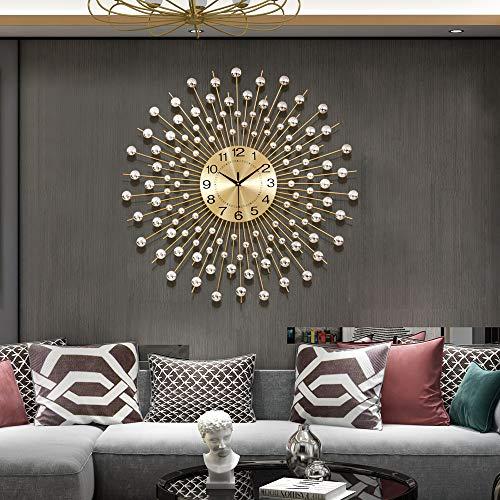 TT 29.5 Large Golden Modern Decorative Wall Clocks for Living Room Decor Luxurious Metal Clock Dial