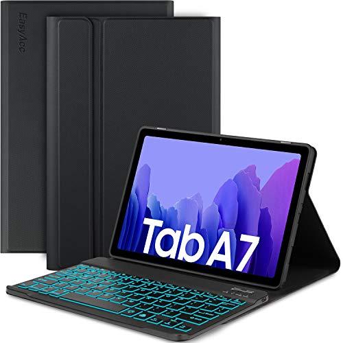 EasyAcc Tastatur Hulle Kompatibel mit Samsung Galaxy Tab A7 104 2020 SM T500SM T505 Beleuchtete Tastatur Magnetische Kabelloser Bluetooth Abnehmbare Deutsche QWERTZ Schutzhulle Schwarz