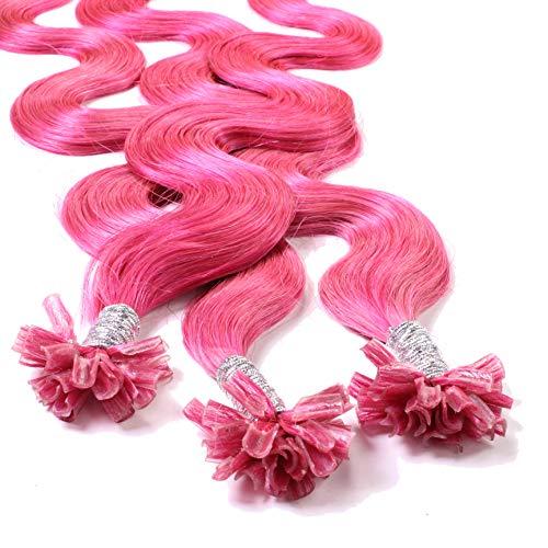 Hair2Heart 50 x 1g Extensiones de queratina - 40cm, colore #fucsia, corrugado