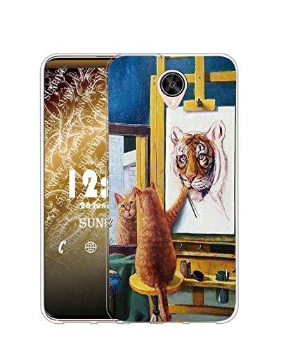 Sunrive Kompatibel mit Meizu M3 Max Hülle Silikon, Transparent Handyhülle Schutzhülle Etui Hülle (TPU Katze und Tiger)+Gratis Universal Eingabestift MEHRWEG