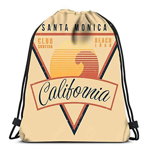 Lmtt Bolsos con cordón Mochila California Surf Sport Vintage 80S Style Travel Gym Bags Mochila Hombro