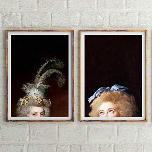 Vintage Half Head European Lady Woman Queen Retrato Retro Lienzo Pintura Arte de la pared Cartel Impresiones HD Dormitorio Sala de estar Oficina Estudio Decoración para el hogar
