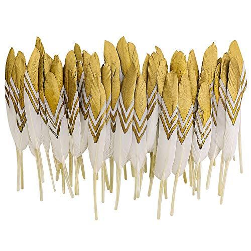 MWOOT 50 Piume d'oca per Artigianato Arte Fai Da Te, Piuma per Carnevale Abbigliamento Decor, Costumi Halloween, Cappelli, Casa, Festa Matrimonio, Decorazione, 10-15CM Oro&Bianco Piume
