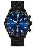Vincero Luxury Men's Altitude Wrist Watch - Black Cordura Nylon Watch Band - 44mm Analog Watch - Japanese Quartz Movement (Matte Black/Cobalt)