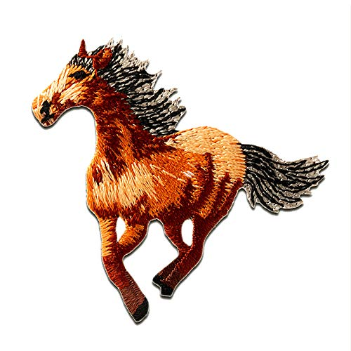 Parches - caballo galope animal - marrón - 4,6x5cm - termoadhesivos bordados aplique para ropa